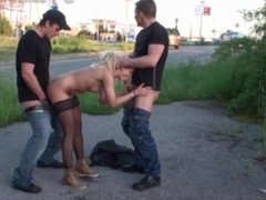 Risky PUBLIC gangbang orgy on the street with a pretty blonde