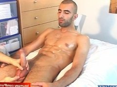Samir a real str8 arab sport guy gets wanked his big cock by a guy !