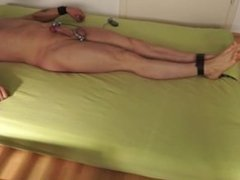 Bondage Jerk Off Twink tied up on the bed