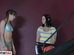 Jennie and Amber play a game of strip basketball shootout