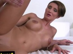 Bigtitted casting amateur handling two cocks
