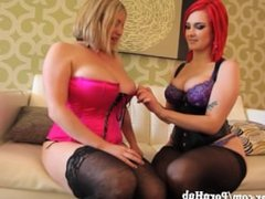 Busty Red Head Plays With All Natural Maggie in First Girl Girl!