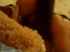 Brunette Teen chick having some fun with her dildo