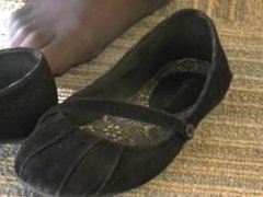 nylon feet and flats under table