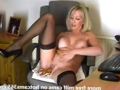 My friend's mom plays with hot pussy for me