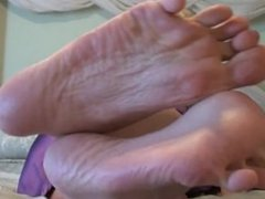 Feet fetish. Wiggling toes.Soft sexy soles