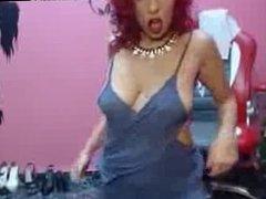 Hot Busty Latina Redhead MILF Teasing On Webcam