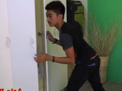 Asian twink caught stealing pays with bareback anal