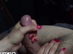 Homemade wife handjob