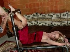 Blonde tied up and foot worshipped