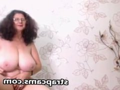 Superb granny with big natural tits on webcam