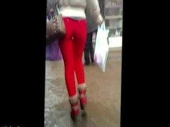 Candid tits voyeur amateur hot walking on the street