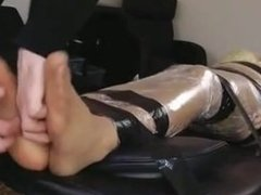 Girl Mummified And Tickled On Her Bare Feet