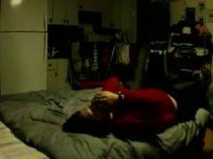 College asian with big boobs rides boyfriend in basement