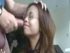 Sexy Ebony With Glasses Suck Fat Cock & Facial