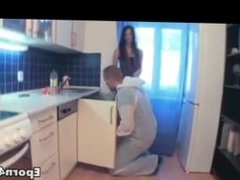 The plumber fucking hard brunette teen in her