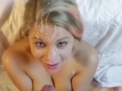 Pretty Teen gets Blasted in the Face with an Unbelievably Big Facial Cumsho