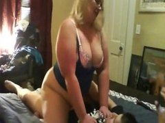 Mature chubby wife and young dude