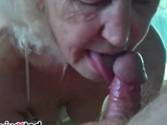 Mature wife gives blowjob
