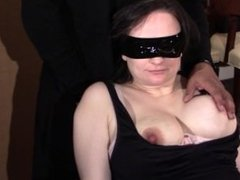Restrained pregnant slut gets a mouth full of cock and a face full of cum