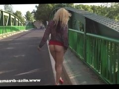 Flashing in public on the road wearing a slut skirt
