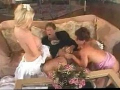 Husband, Bride and bridesmaid in a hot threesome