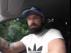 Bearded Tattooed Hunk Jerk Off & Cum in Car