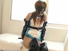 Tongue teasing and flogging for blindfolded masked Oriental girl