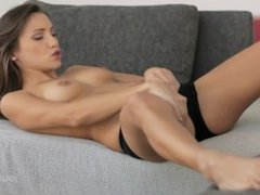 gorgeous young brunette masturbates and has amazing orgasms