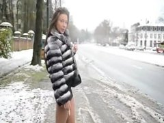 Hooker waiting in louboutin boots in street