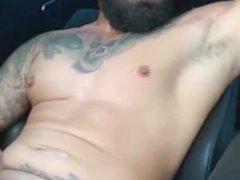 Bearded Tattooed Hunk Jerk Off & Cum Again! ( With Sound )