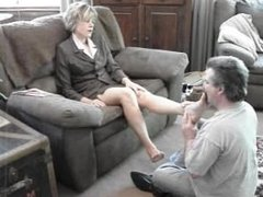 Dominant MILF makes husband worship her tired bare feet after work