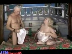 Chubby MILF gets fucked by an old guy