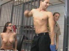 two femdom girls fuck guy in jail
