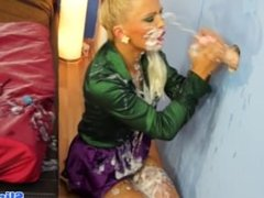 Gloryhole euro cum covered after sucking cock