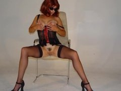 Slutty glamour model opens her pussy for old photographer