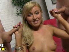 Hot blonde takes on two dicks
