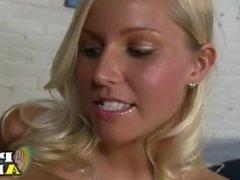 Blonde strips then gives handjob