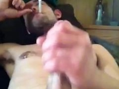 Str8 redneck smokes and jerks off, part one