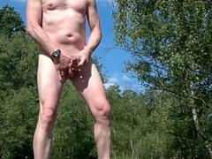 exhibitionist naked cumshot public outdoor and caught at the end running