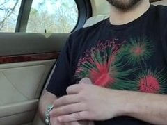 Str8 guy jerks off big dick in back seat of car