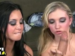 Two hot girls share a dick
