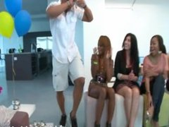 Clothed lonely wives suck male strippers