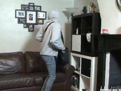 Hot ebony thief taught a lesson and fucked by horny lesbian sluts pussy toy