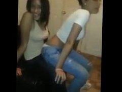 Sexy Ebony Lesbian Teen Girls Lap dance .