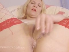 Real Orgasm Masturbation In Red Stockings
