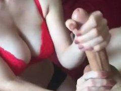 Big Tit Babe Gives Handjob - Creamsesh.com