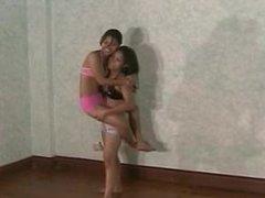 Asian girl girl lift carry