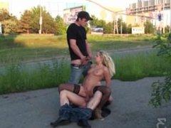Blonde girl PUBLIC sex street gangbang