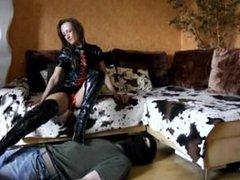 Latex Femdom Foot Slave Trampling In Boots